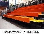 empty orange metal bleachers in ...   Shutterstock . vector #568312837