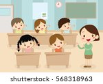 student and teacher attention... | Shutterstock .eps vector #568318963