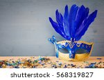 Image Of Blue With Gold Elegan...