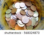 old thai coins in bowl. | Shutterstock . vector #568324873