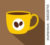 Yellow Cup Of Coffee Icon. Fla...