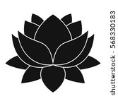 Water Lily Flower Icon. Simple...