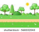 lush green nature cartoon... | Shutterstock . vector #568332043