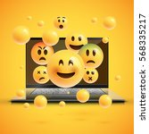 realistic yellow emoticons in... | Shutterstock .eps vector #568335217