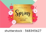 spring sale background with... | Shutterstock .eps vector #568345627