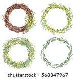 set of watercolor mimosa frames....   Shutterstock . vector #568347967
