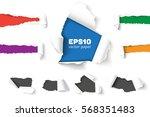 set of holes in white paper...   Shutterstock .eps vector #568351483