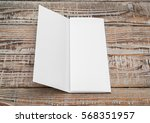 trifold white template paper on ... | Shutterstock . vector #568351957