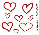 hand drawn hearts. design... | Shutterstock .eps vector #568363807