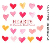 collection of heart watercolor... | Shutterstock .eps vector #568364797
