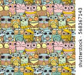cute owl pattern seamless on... | Shutterstock .eps vector #568367143