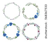 set of watercolor lavender...   Shutterstock . vector #568367533