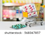 shopping trolley with blisters... | Shutterstock . vector #568367857