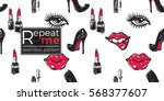 hand drawn graphic red lip  lip ... | Shutterstock .eps vector #568377607