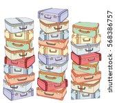vector cartoon decorative stack ... | Shutterstock .eps vector #568386757
