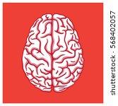 human brain illustration on red ... | Shutterstock .eps vector #568402057