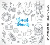 hand drawn shavuot design... | Shutterstock .eps vector #568404103