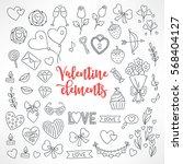 set of hand drawn st. valentine'...   Shutterstock .eps vector #568404127