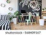modern decor of cozy bedroom... | Shutterstock . vector #568409167