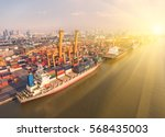 container container ship in...   Shutterstock . vector #568435003