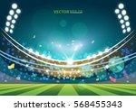 sports stadium with lights ... | Shutterstock .eps vector #568455343