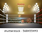 boxing ring with illumination... | Shutterstock .eps vector #568455493