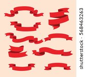 red ribbon vector set | Shutterstock .eps vector #568463263