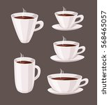 set of cartoon style cup.... | Shutterstock .eps vector #568465057