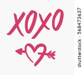 hand drawn heart and lettering. ... | Shutterstock .eps vector #568473637