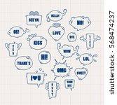 cute speech bubble doodle style ... | Shutterstock .eps vector #568474237