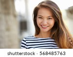 outdoor portrait of attractive... | Shutterstock . vector #568485763