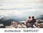 couple travelers man and woman... | Shutterstock . vector #568491457