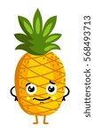 cute fruit pineapple cartoon... | Shutterstock .eps vector #568493713