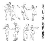 set of a young couple dancing... | Shutterstock .eps vector #568494853