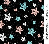 pastel star on black seamless... | Shutterstock .eps vector #568499173