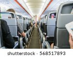 airplane with passengers on...   Shutterstock . vector #568517893