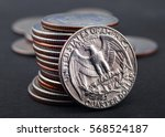 stack of quarter dollar coins... | Shutterstock . vector #568524187