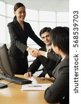 businesswoman shaking hands on... | Shutterstock . vector #568539703