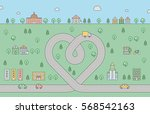 road heart and city cute... | Shutterstock .eps vector #568542163