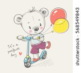 Stock vector cute little bear riding a scooter cartoon hand drawn vector illustration can be used for baby t 568549843
