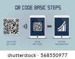 qr code basic steps on tablet   ... | Shutterstock .eps vector #568550977