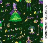 color pattern of mardi gras.... | Shutterstock .eps vector #568551247