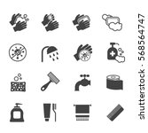 hygiene icon set. vector black... | Shutterstock .eps vector #568564747