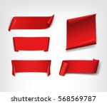 set of red  realistic  paper... | Shutterstock .eps vector #568569787