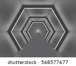 futuristic illuminated hexagon... | Shutterstock .eps vector #568577677