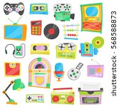 collection of bright cartoon... | Shutterstock .eps vector #568588873
