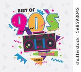 best of 90s illistration with... | Shutterstock .eps vector #568593043