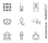 museum set icons in outline... | Shutterstock .eps vector #568600717