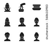 skin care set icons in black... | Shutterstock .eps vector #568610983