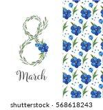 watercolor wreath march 8 | Shutterstock . vector #568618243